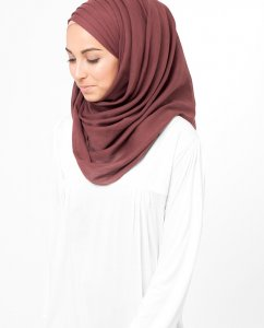 Oxblood Red Roströd Bomull Voile Hijab 5TA12