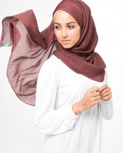 Oxblood Red Roströd Bomull Voile Hijab 5TA12a