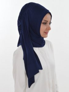 Pia Navy Blue Practical Hijab Ayse Turban 321405b