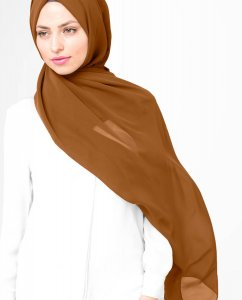 Pumpkin Spice - Brown Georgette Hijab 5XA53a