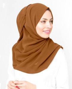 Pumpkin Spice - Brown Georgette Hijab 5XA53b