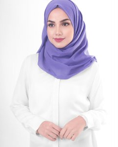 Purple Opulence - Purple Cotton Voile Hijab 5TA91b