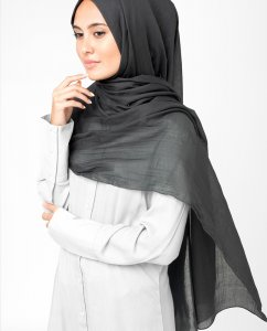 Raven Granit Bomull Voile Hijab 5TA1a