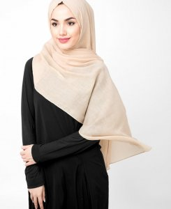 Ravens Beige Bomull Voile Hijab 5TA21a
