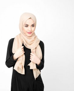 Ravens Beige Bomull Voile Hijab 5TA21c