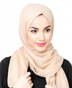 Ravens Beige Bomull Voile Hijab 5TA21d