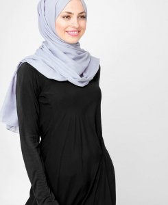 Dusty Blue Lila Bomull Voile Hijab 5TA22a