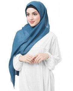 Real Teal - Teal Bomull Voile Hijab 5TA37c