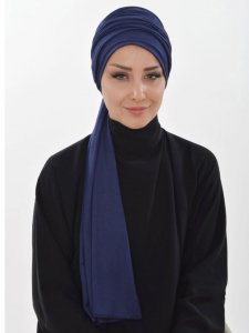 Rebecca Navy Blue Cotton Turban Ayse Turban 322302a