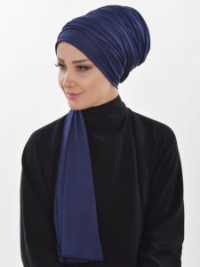Rebecca Navy Blue Cotton Turban Ayse Turban 322302b