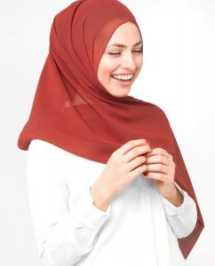 Red Clay  Röd Georgette Hijab 5XA50b