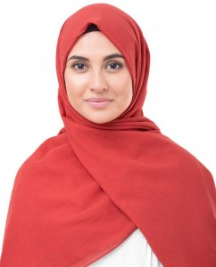 Red Risk Hallonröd Bomull Voile Hijab InEssence 5TA71a