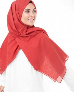 Red Risk Hallonröd Bomull Voile Hijab InEssence 5TA71c