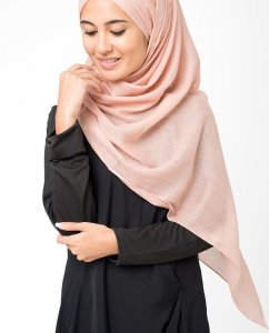 Rose Dust Korall Bomull Voile Hijab 5TA17a