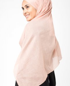 Rose Dust Korall Bomull Voile Hijab 5TA17b