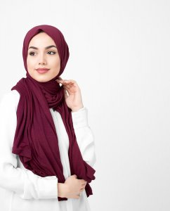 Rumba Red Bordeaux Viskos Jersey Hijab 5VA74a