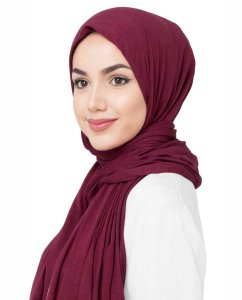 Rumba Red Bordeaux Viskos Jersey Hijab 5VA74d
