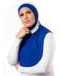 Runner Blue & White XL Sport Hijab 21A12
