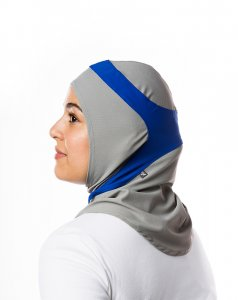 Runner Dark Grey & Blue Sport Hijab 21A10a