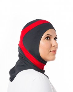 Runner Dark Grey & Red Sport Hijab 21A9a