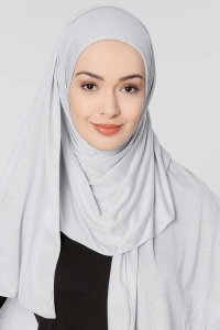 Seda Light Grey Jersey Hijab Ecardin 200228a