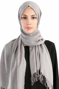 Selin Light Grey Pashmina Hijab Shawl Scarf Özsoy 160291-1