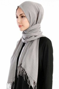 Selin Light Grey Pashmina Hijab Shawl Scarf Özsoy 160291-2