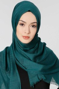Selma Dark Green Plain Color Hijab Scarf Shawl Gülsoy 300205a