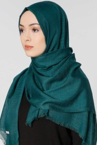 Selma Dark Green Plain Color Hijab Scarf Shawl Gülsoy 300205b