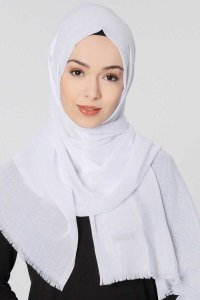 Selma White Plain Color Hijab Scarf Shawl Gülsoy 300206a