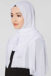 Selma White Plain Color Hijab Scarf Shawl Gülsoy 300206b