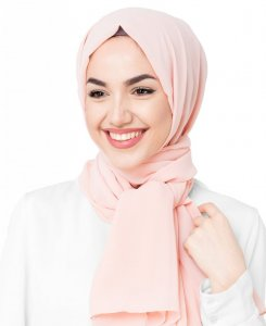 Silver Pink Rosa Poly Geogette Hijab 5XA1a