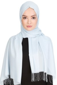 Sinem Light Blue Fringed Chiffon Hijab 4A1404a
