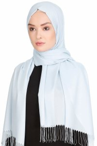 Sinem Light Blue Fringed Chiffon Hijab 4A1404b