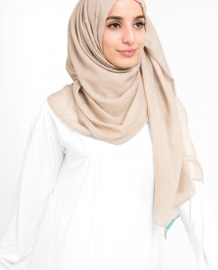 Smoke Grey Mörk Beige Bomull Voile Hijab 5TA4a