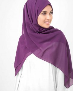 Sparkling Grape Lila Georgette Hijab InEssence 5XA38b