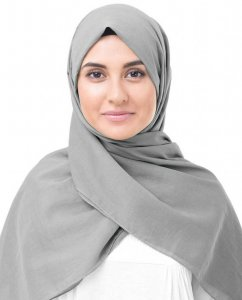 Steeple Grey Grå Bomull Voile Hijab InEssence 5TA61a