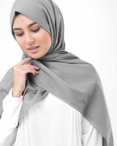 Steeple Grey Grå Bomull Voile Hijab InEssence 5TA61c