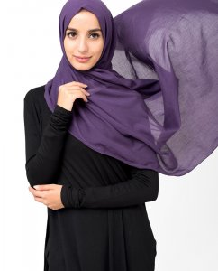 Sweet Grape Plommon Bomull Voile Hijab 5TA14a