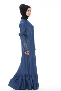 Tahiya Denim Modest Klänning Med Blommor Neways 280394b