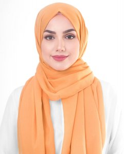 Tangerine - Orange Cotton Voile Hijab 5TA85a