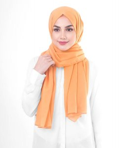 Tangerine - Orange Cotton Voile Hijab 5TA85b