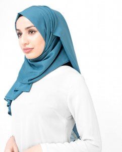 Teal Real - Denim Cotton Voile Hijab Shawl Hijab InEssence Ayisah 5TA556b