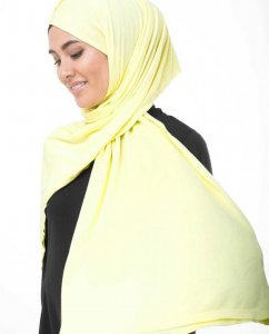 Tender Yellow Light Yellow Viscose Jersey Hijab InEssence 5VA53c
