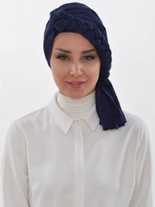 Theresa Navy Blue Turban Ayse Turban Tasarim 324203a