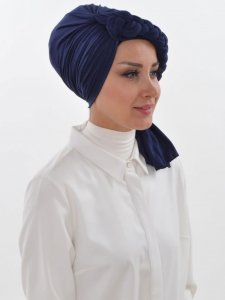Theresa Navy Blue Turban Ayse Turban Tasarim 324203b