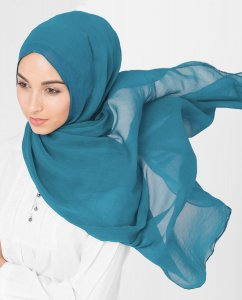 Turkish Tile - Petrolblå Poly Chiffon Hijab 5RA55a