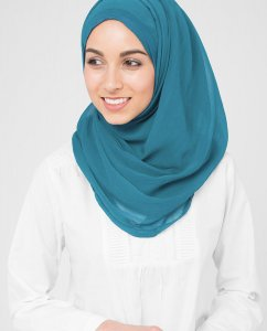 Turkish Tile - Petrolblå Poly Chiffon Hijab 5RA55b