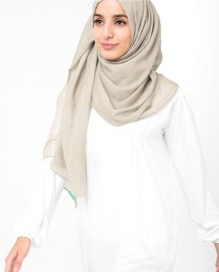 Turtledove - Beige Cotton Voile Hijab 5TA86c