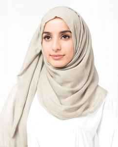 Turtledove - Beige Cotton Voile Hijab 5TA86d
